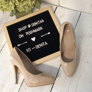 Elle Nude Patent Heel Pump Size 9